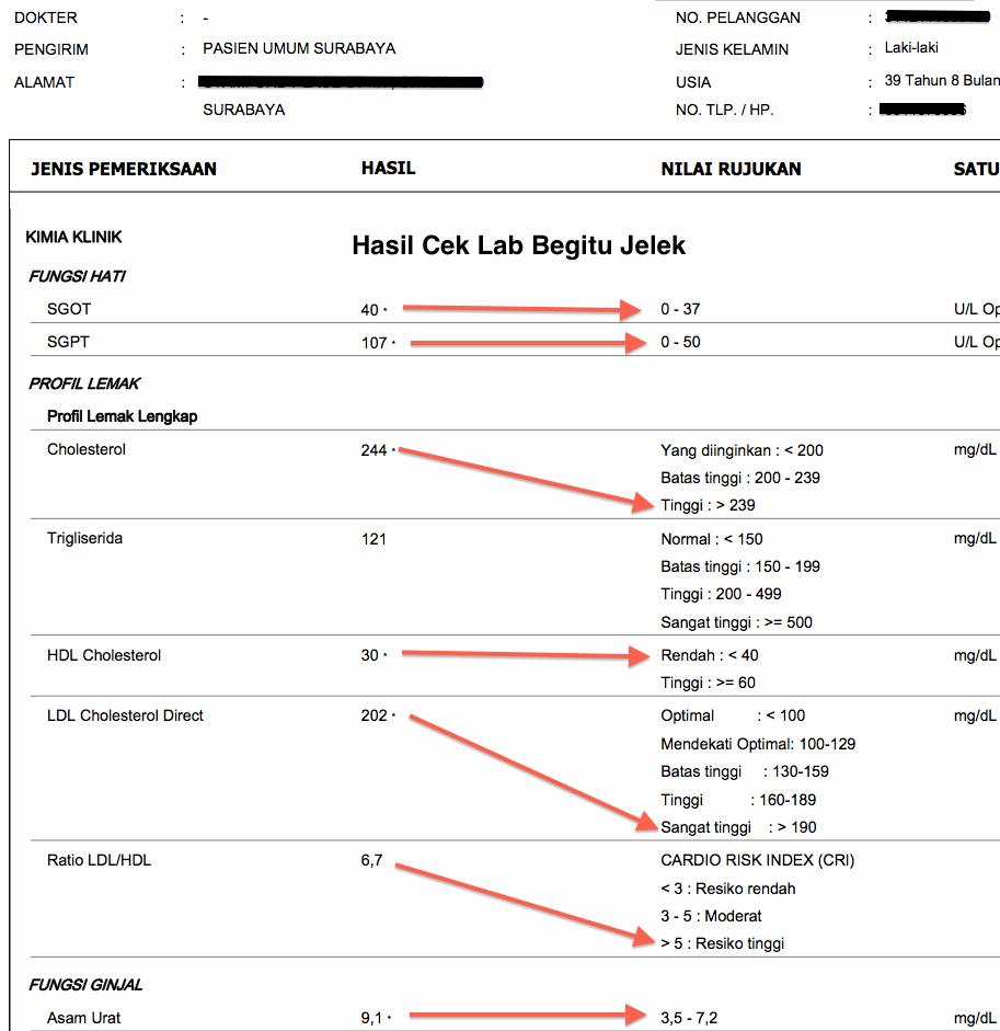 Hasil Cek Lab di Awal LCD